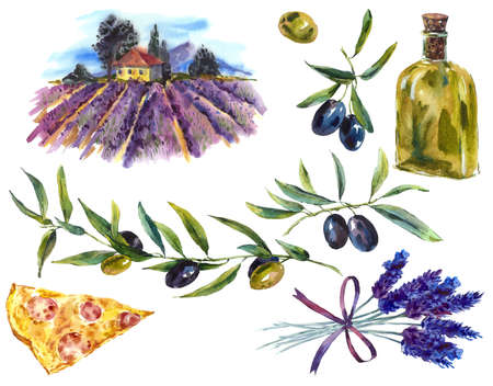 olive farm: Set of watercolor branches olive oil, bouquet lavender, landscape and slice pizza Stock Photo