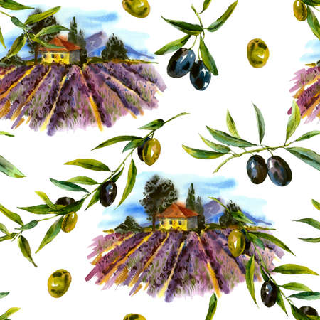 france painted: Watercolor seamless pattern with landscape blooming violet lavender and olives, watercolor illustration Stock Photo