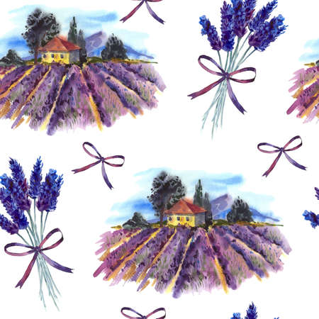 tuscan: Watercolor seamless pattern with landscape, blooming violet lavender field