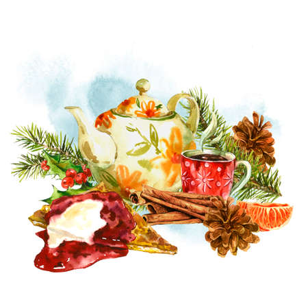 whipped cream: Watercolor greeting card with sweet dessert, teapot, cup of tea, fir branches, tangerines, pine cones, cinnamon, holly, pancake with jam.  Vintage Merry Christmas and Happy New Year illustration Stock Photo