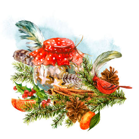 christmas watercolor: Watercolor greeting card with sweet dessert, fir branches, tangerines, pine cones, cinnamon, Holly, feathers, candy and bird.  Vintage Merry Christmas and Happy New Year illustration