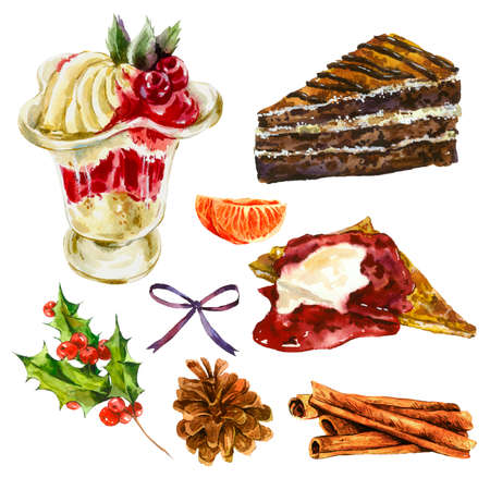 winter cherry: Set of watercolor Christmas elements, cake, pancake with jam, sweet cream dessert with cherry, Holly, pinecone, tangerines, cinnamon