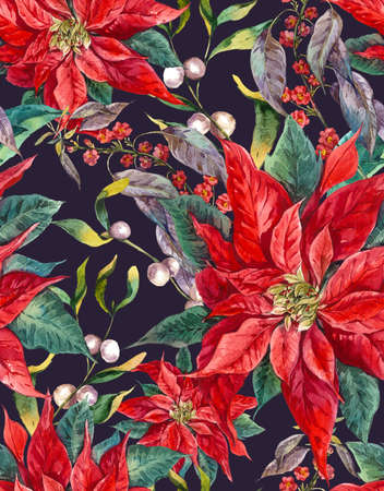 botanical illustration: Watercolor Christmas vintage floral seamless pattern with blue berries, poinsettia. Botanical watercolor illustration