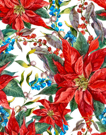 Watercolor Christmas vintage floral seamless pattern with blue berries, poinsettia. Botanical watercolor illustration