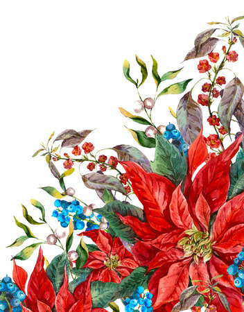 Watercolor Christmas vintage floral greeting card with blue berries, poinsettia. Botanical watercolor illustration