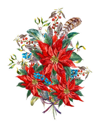holly day: Watercolor Christmas vintage floral greeting card with blue berries, poinsettia and feathers. Botanical watercolor illustration
