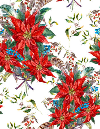 holly day: Watercolor Christmas vintage floral seamless pattern with blue berries, poinsettia and feathers. Botanical watercolor illustration