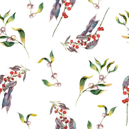 winter wallpaper: Watercolor Christmas vintage floral seamless pattern. Botanical watercolor illustration Stock Photo