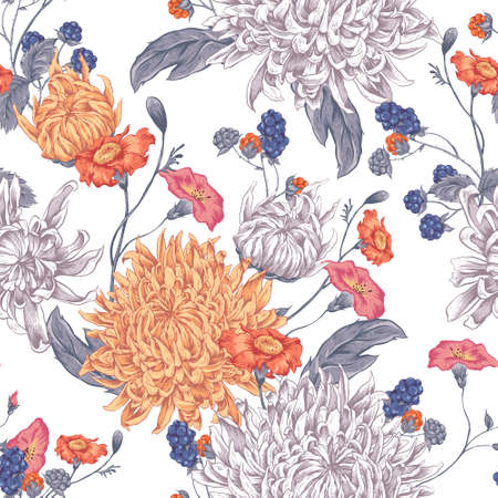 the petal: Vintage Floral Seamless Background with Blooming Chrysanthemums. Vector Illustration on a White Background.