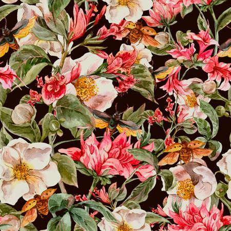 flores exoticas: Fondo de la acuarela de la vendimia incons�til con suaves flores de la primavera de color rosa y los escarabajos, la acuarela Ilustraci�n bot�nica