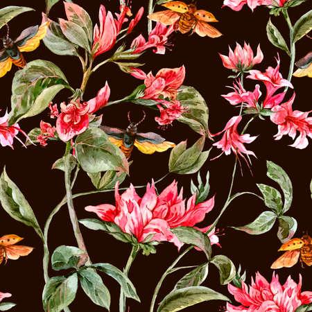 Aquarel Vintage naadloze achtergrond met zachte lente de Roze Bloemen en Kevers, de Botanische illustratie van de waterverf Stockfoto - 48433226