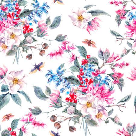 patrones de flores: Fondo de la acuarela de la vendimia inconsútil con suaves flores de la primavera de color rosa y los escarabajos, la acuarela Ilustración botánica