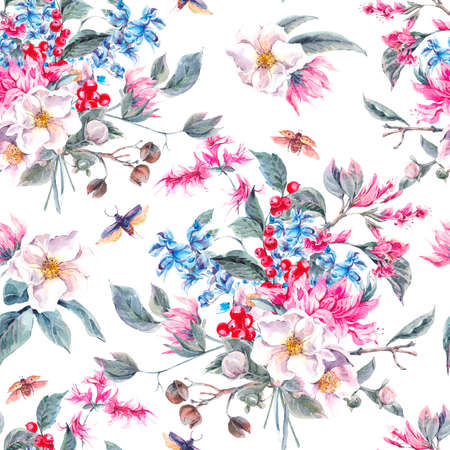 Watercolor Vintage Seamless Background with Gentle Spring Pink Flowers and Beetles, Botanical Watercolor illustration