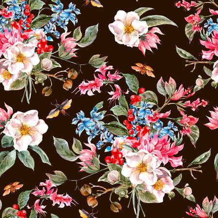 flores exoticas: Fondo de la acuarela de la vendimia inconsútil con suaves flores de la primavera de color rosa y los escarabajos, la acuarela Ilustración botánica