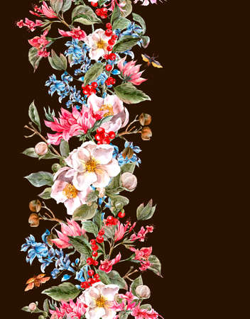 Watercolor Vintage Seamless Border with Gentle Spring Pink Flowers and Beetles, Botanical Watercolor illustration