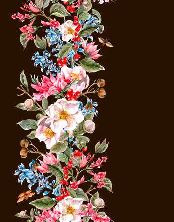 textil: Frontera inconsútil de la vendimia de la acuarela con suaves flores de la primavera rosa y escarabajos, acuarela Ilustración botánica