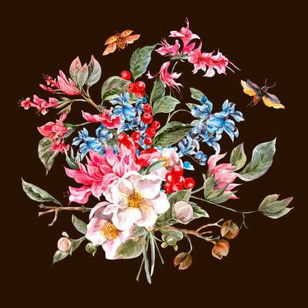 De vintage Groet van de waterverf van de lente met Gentle Floral Bouquet en Kevers, Botanische illustratie van de waterverf