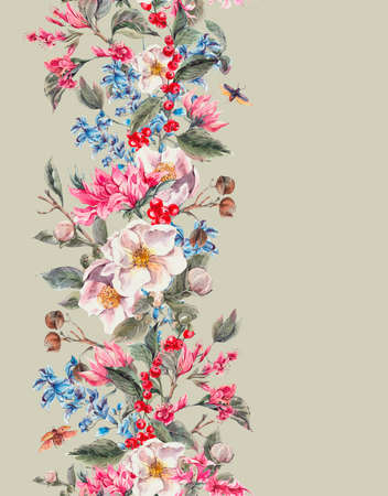 retro flowers: Watercolor Vintage Seamless Border with Gentle Spring Pink Flowers and Beetles, Botanical Watercolor illustration