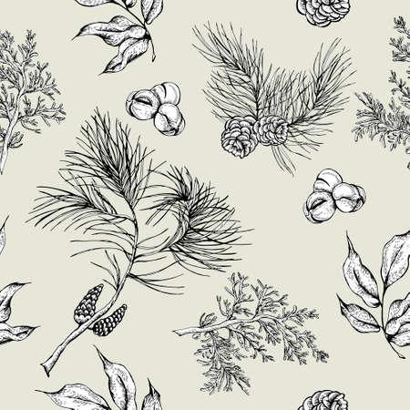 pomme de pin: Monochrome Forêt seamless vintage avec des branches de sapin et des cônes de sapin, illustration vectorielle
