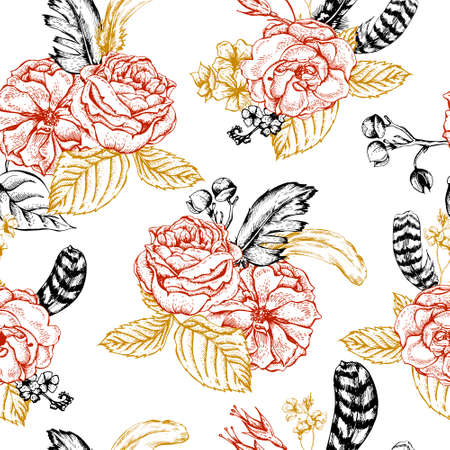 victorian pattern: Floral vintage seamless background with roses and feathers