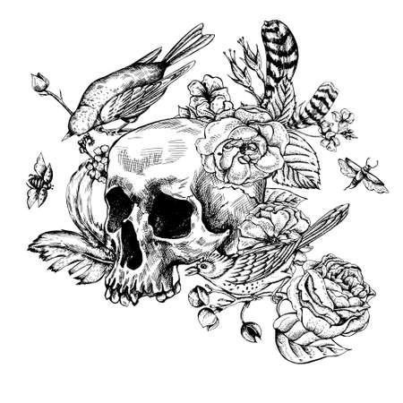 Crâne avec des fleurs, roses, des oiseaux et des plumes en noir et blanc Banque d'images - 49611920