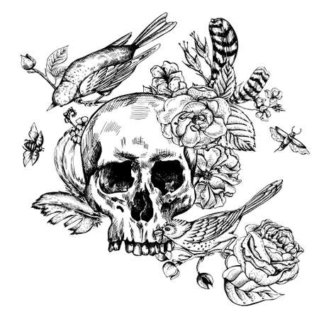 gothic: Skull with Flowers, Roses, Birds and Feathers Black and white Vector illustration, tattoo design