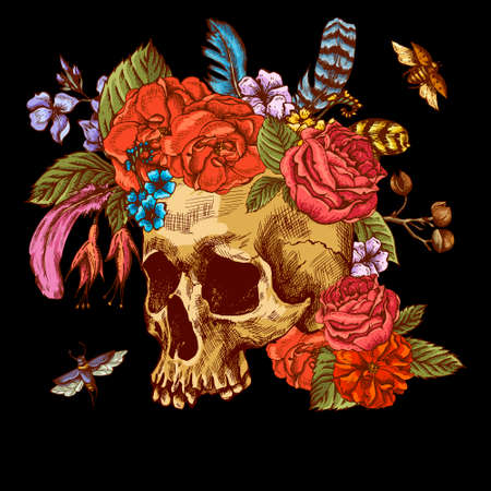 death symbol: Skull and Flowers Day of The Dead Illustration