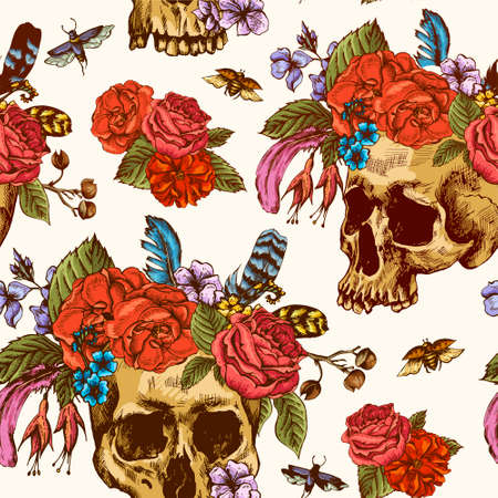 flower sketch: Skull and Flowers Seamless Pattern, Day of The Dead, Vintage Vector illustration, tattoo design