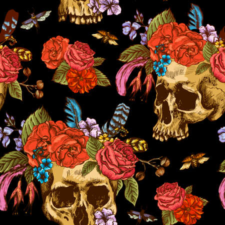 white roses: Skull and Flowers Seamless Pattern, Day of The Dead, Vintage Vector illustration, tattoo design