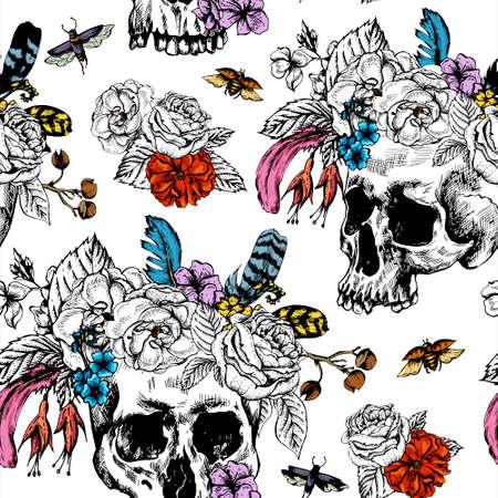 頭蓋骨と、死んだシームレスなパターンは、黒と白のベクトル図の花日の入れ墨の設計