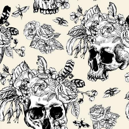 tatouage fleur: Jour Cr�ne et fleurs de la Seamless Morte, noir et blanc illustration vectorielle, la conception de tatouage