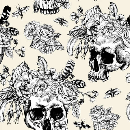 sugar skull: Skull and Flowers Day of The Dead Seamless Pattern, Black and white Vector illustration, tattoo design