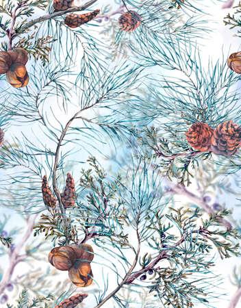 navidad elegante: Patrón de invierno de la acuarela transparente de Navidad con ramas de árbol, Conos y hojas. Natural de la mano Ilustración pintada en el fondo blanco