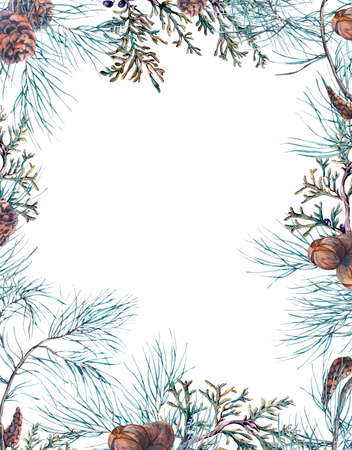 vintage wallpaper: Winter Watercolor Christmas Frame with Tree Branches, Fir Cones and Leaves. Natural Hand Painted Illustration Stock Photo