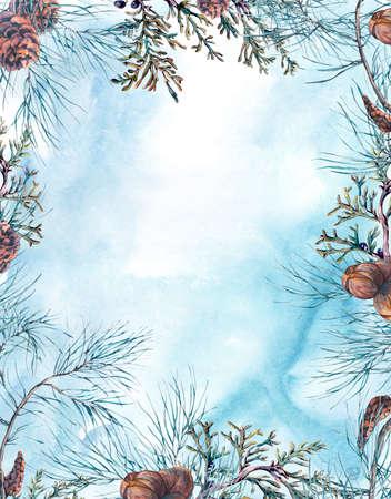 겨울 나뭇 가지, 전나무 콘와 나뭇잎 수채화 크리스마스 프레임. 자연 손으로 그림을 그린