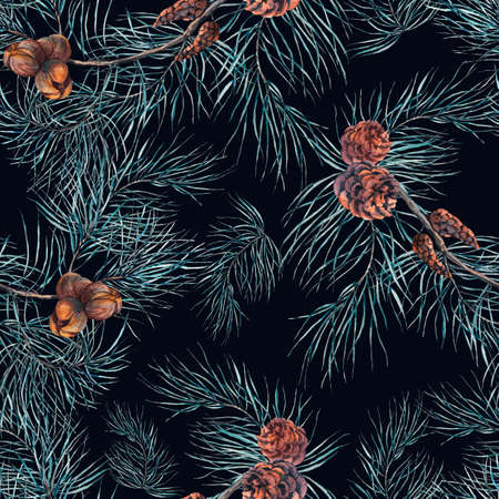 painted wood: Winter Watercolor Christmas Seamless Pattern with Tree Branches, Fir Cones and Leaves. Natural Hand Painted Illustration on Dark Background
