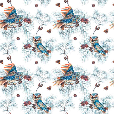 fir cones: Winter Watercolor Christmas Seamless Pattern with Owls, Tree Branches, Fir Cones and Leaves. Natural watercolor Illustration