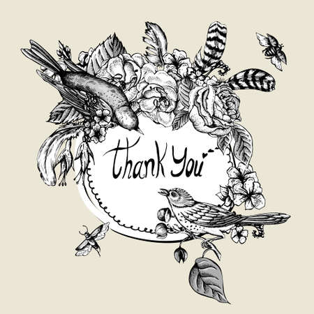 Thank You Greeting Round Frame, Monochrome Hand Drawn Spring Vector Illustration with Blooming Flowers, Roses and Birds