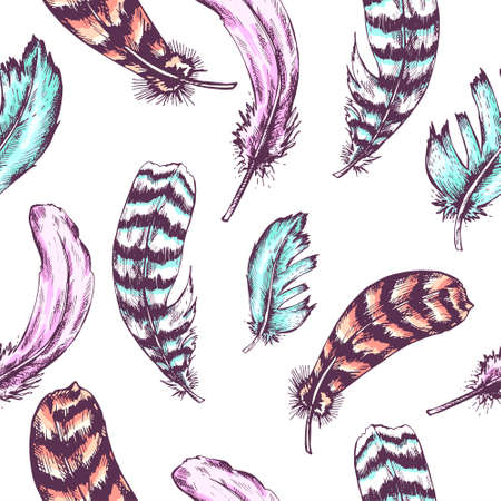 floral objects: Vintage seamless background with vintage feather. Hand drawn vector illustration.