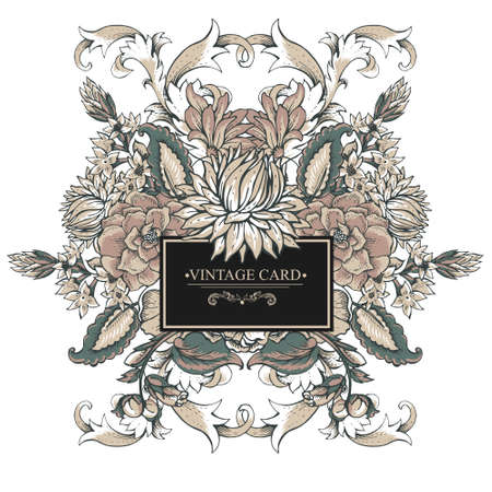 Vintage symmetric baroque greeting card with swirls, flowers, vector illustration
