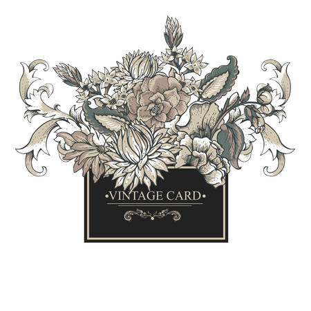 Vintage baroque greeting card with swirls, flowers, vector illustration