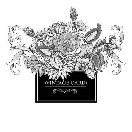 Vintage baroque black and white greeting card with swirls, flowers, vector illustration