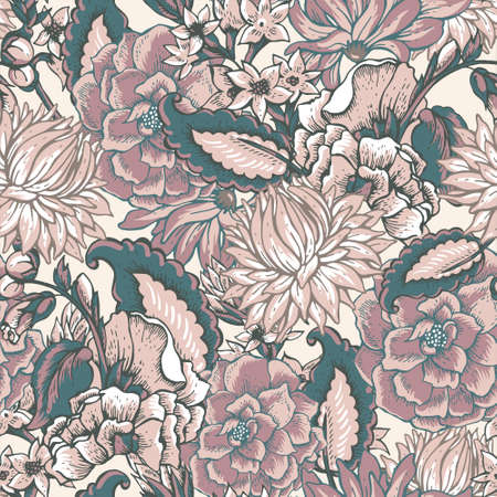 Vintage floral baroque seamless pattern with roses and chrysanthemums, vector illustration