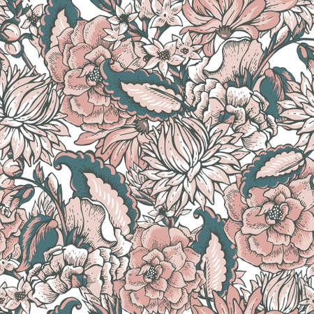 renaissance: Vintage floral baroque seamless pattern with roses and chrysanthemums, vector illustration