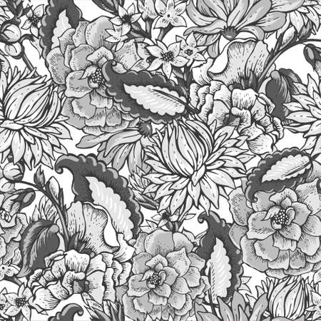 victorian pattern: Vintage black and white floral baroque seamless pattern with roses, chrysanthemums, vector illustration Illustration
