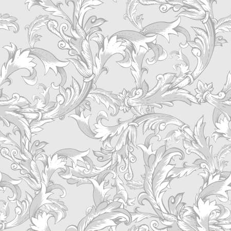 Gentle vintage baroque seamless pattern with swirls, vector illustration