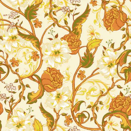 ramo de flores: Modelo inconsútil barroco floral de la vendimia con la floración magnolias, rosas y ramitas, ilustración vectorial