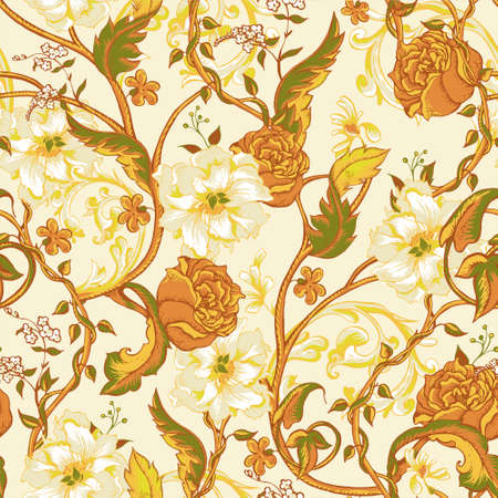 flower pattern: Vintage floral baroque seamless pattern with blooming magnolias, roses and twigs, vector illustration