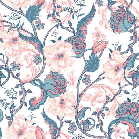magnolia tree: Vintage floral baroque seamless pattern with blooming magnolias, roses and twigs, vector illustration