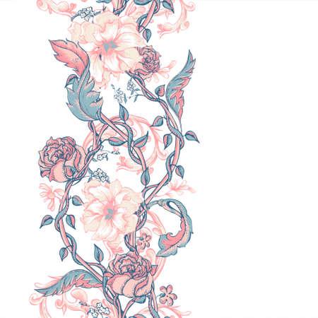 咲くモクレン、バラや小枝、ベクトル イラスト ヴィンテージ花柄バロック シームレスな境界線